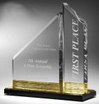 Multi-Faceted Dual Acrylic Column with Base Accent Color Colored Acrylic Awards